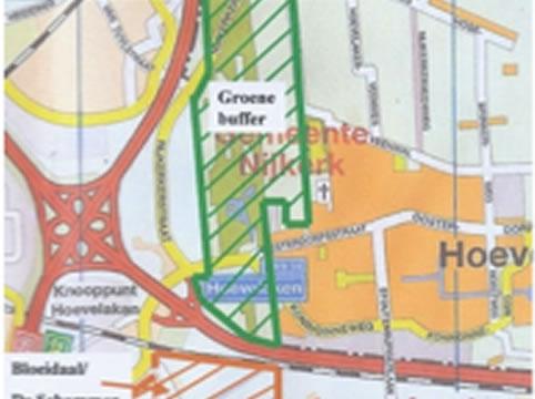 stadsplattegrond met groene structuur