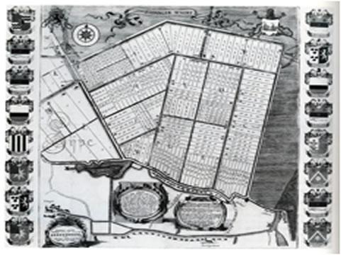 plattegrond met kanalen