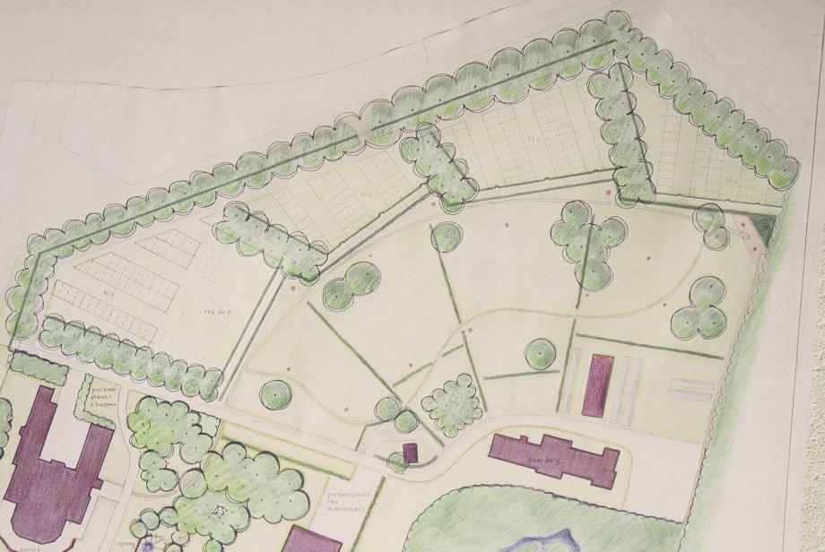 ontwerptekening van het achterterrein van Bronbeek in het renovatieplan
