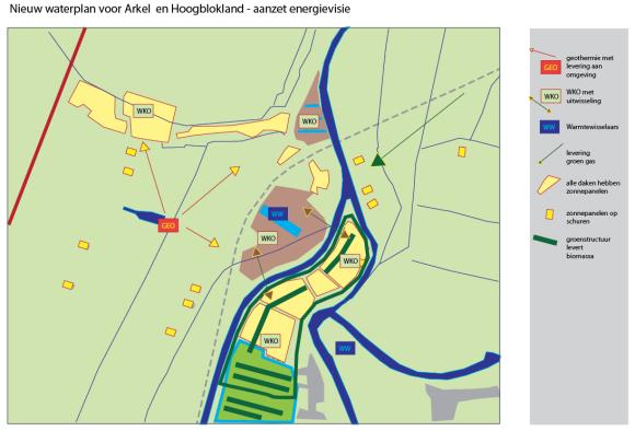 kaart voor de energievisie van Arkel