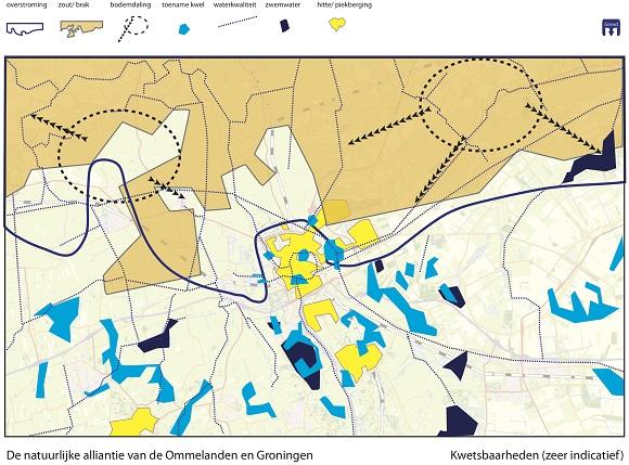 aanzet kwetsbaarhedenkaart van de stad Groningen