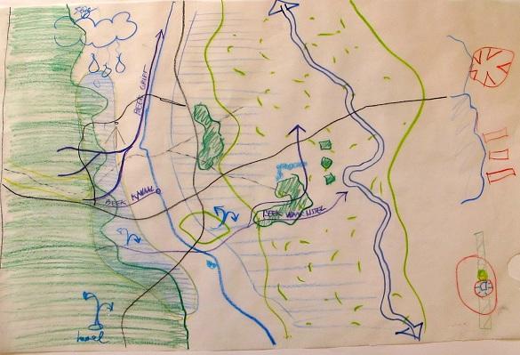 schets van groen-blauwe structuur in Apeldoorn