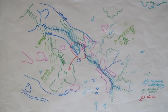 schets van groen-blauwe structuur in Doetinchem
