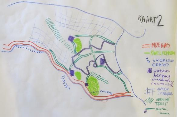 schets van blauw-groene structuur van Wijchen