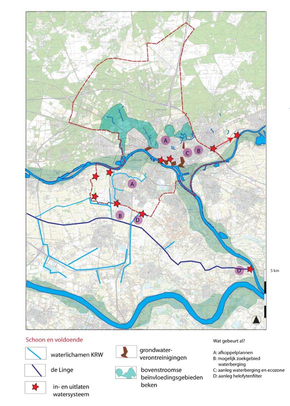 Kaart met beïnvloedingen gebieden door het water