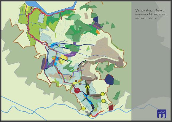 ontwerpkaart met groene en blauwe landschapsstructuren