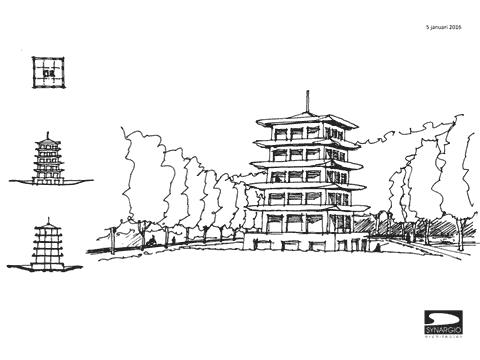 tekening van een pagode
