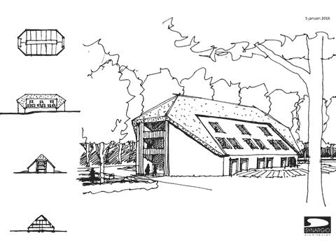 tekening van een landhuis
