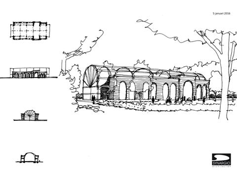 tekening van een tuincentrum